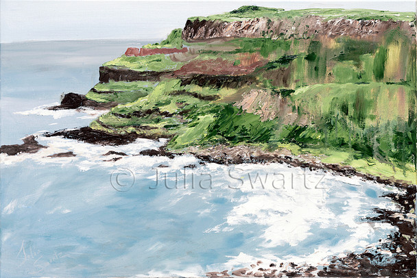 A landscape oil painting of the Giant's Causeway in Ireland by Julia Swartz