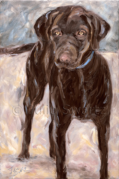 An oil painting of a chocolate lab by Julia Swartz