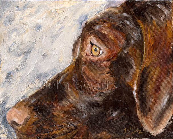The second oil painting of Gideon's face, this composition focuses on a close up profile view of the dog.