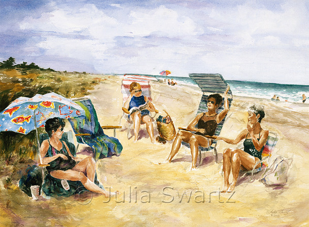 A watercolor painting of four lady friends at Bethany Beach by Julia Swartz