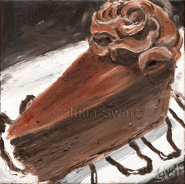 A paintings of Godiva Cheesecake in oil on canvas.