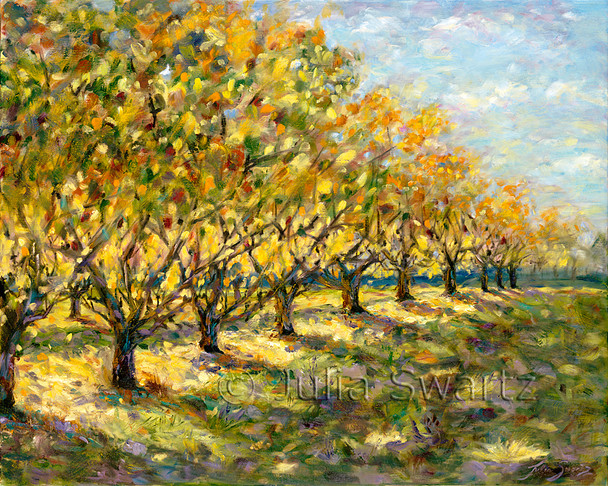 An oil painting of a Peach orchard with rows of fall colored leaves by Julia Swartz.