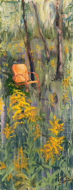 An Original Oil paintings of Golden Rod Flowers and an old metal chair at the edge of the woods by Julia Swartz.