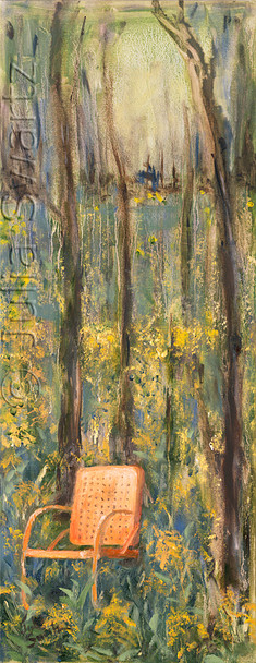 A second painting off an oil painting of Golden Rod, an antique orange metal chair at the edge of a woods by Julia Swartz