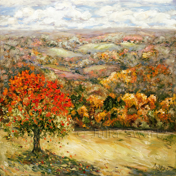 An oil painting of fall leaves in the mountains of Tioga county PA by Julia Swartz.