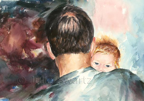 A watercolor of Grandpa and Grandson by Julia Swartz.