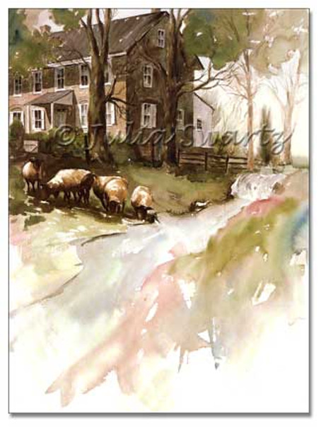 A watercolor painting of an old stone house with sheep in a meadow and a pond and waterfalls in the meadow by Julia Swartz