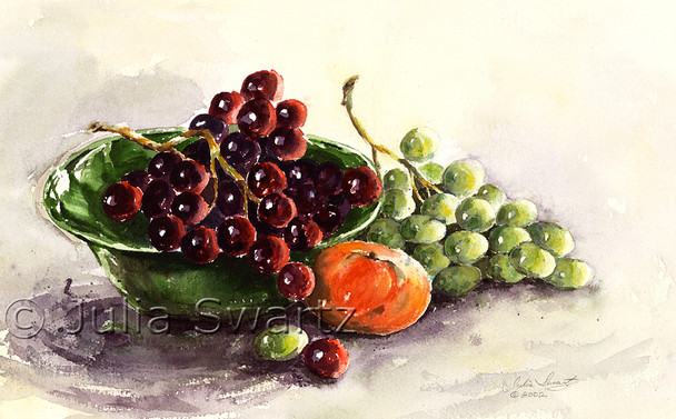 A watercolor painting of grapes in a green bowl by Julia Swartz.
