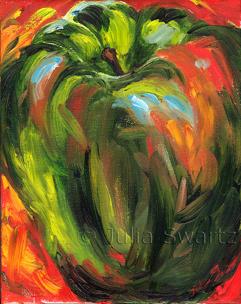 An oil painting of a Green Pepper close up by Julia Swartz.