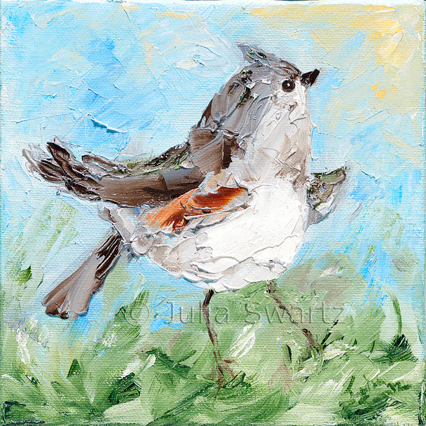 An impressionistic close up oil painting of a Titmouse by Julia Swartz Lancaster PA