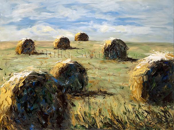 Oil paintings of big round Hay Bales by Julia Swartz Lancaster PA
