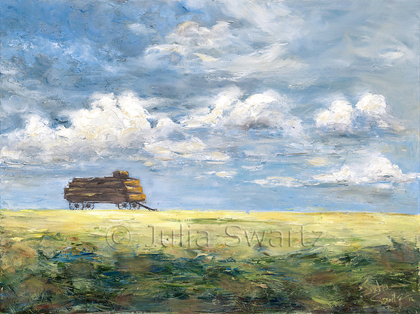 An Amish hay wagon loaded with hay in the middle of a field against a blue sky painted in oil on canvas by Julia Swartz.