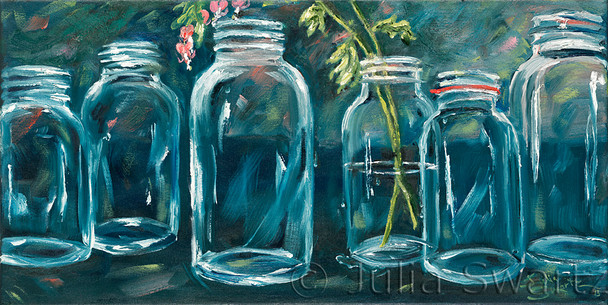 An oil painting of six antique ball jars with one sprig of bleeding hearts flowers by Julia Swartz.