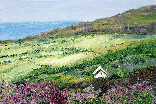 A landscape oil painting of sheep grazing in a meadow by the sea side next to a field of heather near Moville Ireland by Julia Swartz