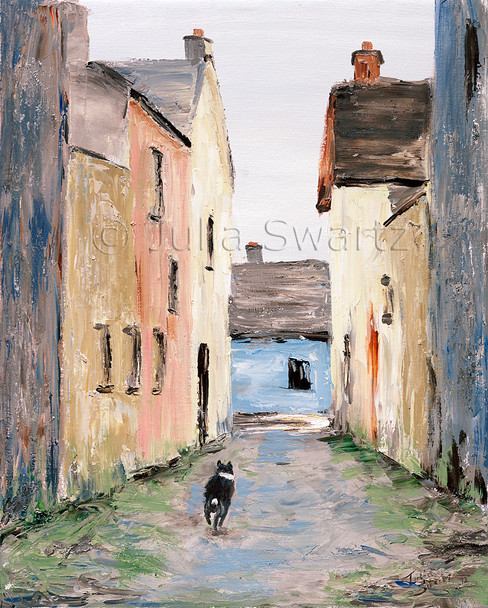 An oil painting of a border collie running down the street of pastel painted houses in Moville Ireland by Julia Swartz.