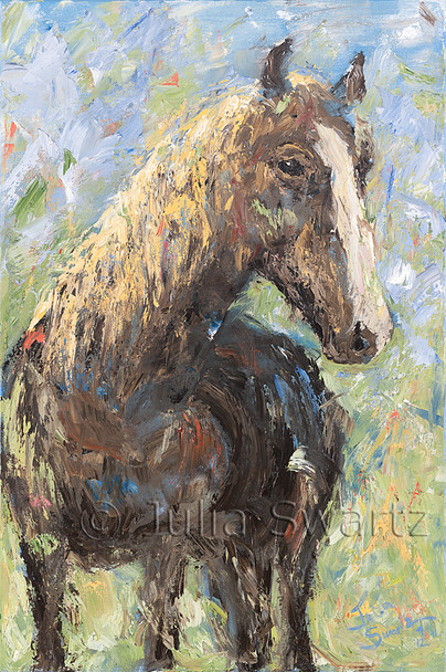 A close up impressionistic oil painting of a horse by Julia Swartz, Lancaster PA