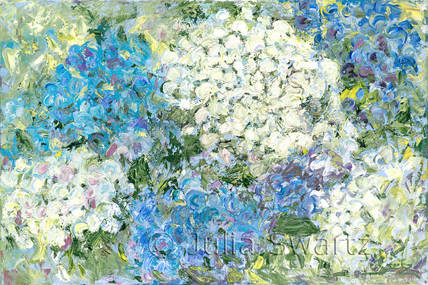 An impressionist oil painting of Hydrangeas, blue and white, by Julia Swartz. Lancaster PA