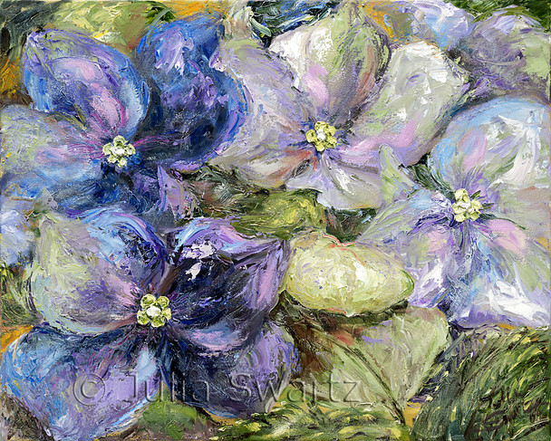 Hydrangea flowers painted close up with a palette knife and lots of texture by Julia Swartz