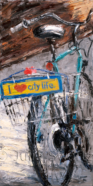 This is a close up oil painting of bike that often sits in front of the Prince St cafe in warmer weather.