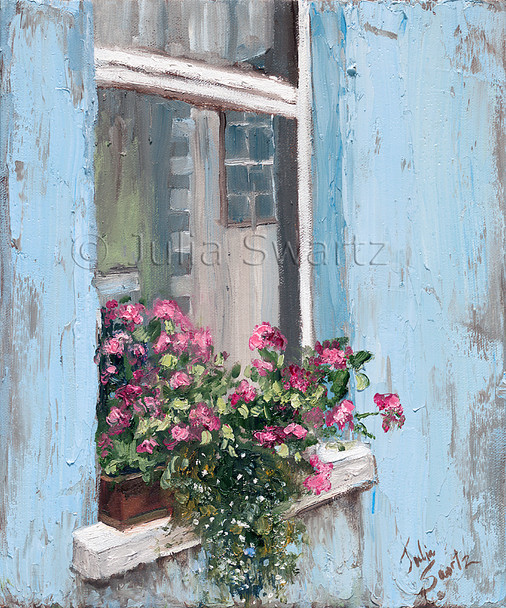 Flowers blooming in a window box of a blue pastel painted home in Moville Ireland by Julia Swartz.