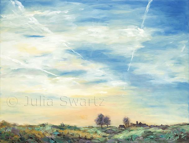 A landscape oil painting of a beautiful evening sky in Lancaster PA with jet streaks, aka contrails by Julia Swartz.