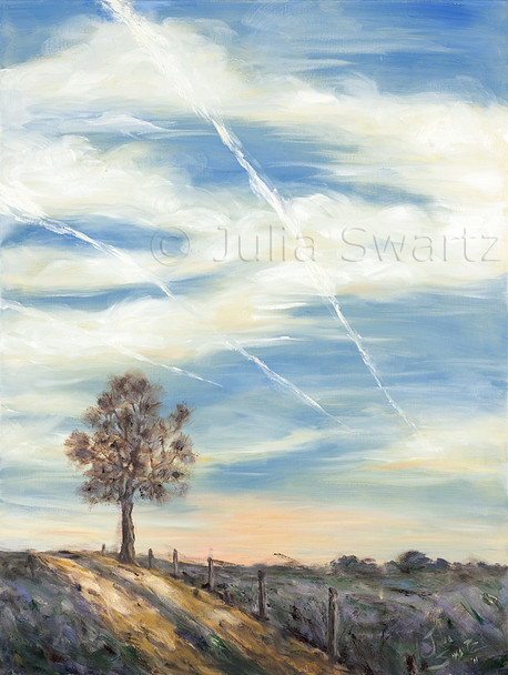 A second  landscape oil painting of a beautiful evening sky in Lancaster PA with jet streaks, aka contrails by Julia Swartz. This one is a vertical orientation.