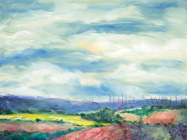 A multi colored landscape oil painting of rolling fields against some distant hills with a big sky by Julia Swartz.