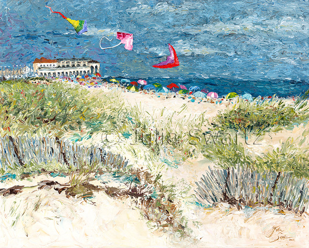 An impressionism oil painting of Kites flying above the beach at Ocean City New Jersey by Julia Swartz.
