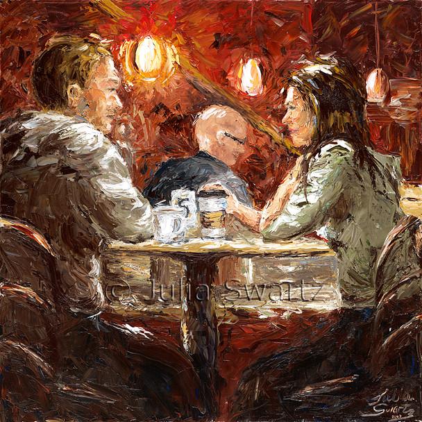 Latte Conversation - Cafe Oil Painting