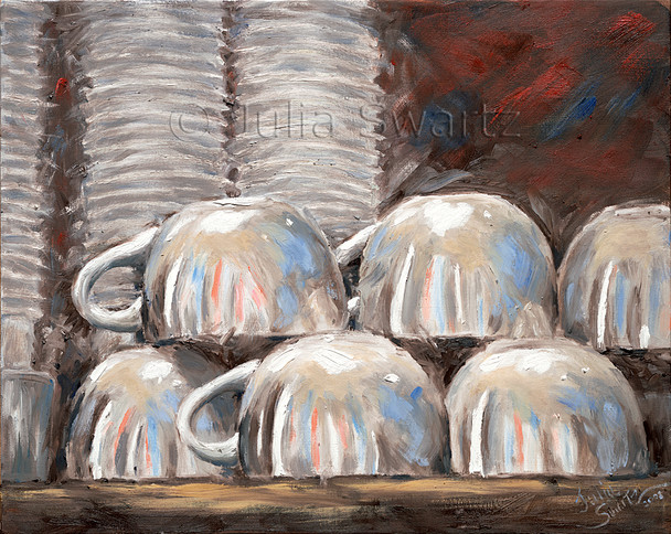 Stacks of white coffee mugs on a shelf at the Prince Street Cafe painted in oil on canvas.