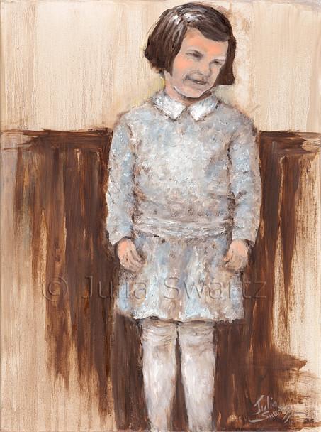 A portrait oil painting of Ruth, Julia's mother, Julia Swartz