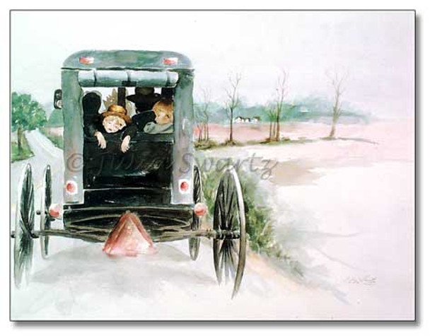 Watercolor painting of an Amish boy sleeping in the back of an Amish buggy painted by Julia Swartz.