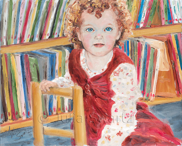 A portrait of a red headed Irish girl at the local library painted with oil on canvas by Julia Swartz.