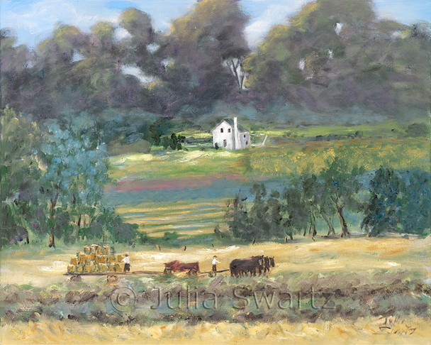 An impressionist oil painting of Amish baling hay with houses by Julia Swartz, Lancaster PA
