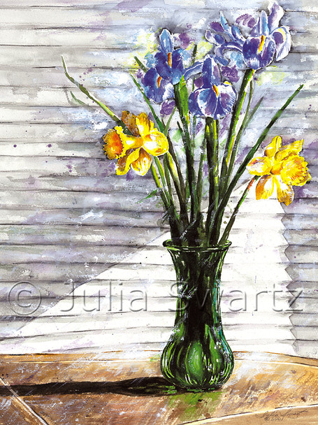 A watercolor of daffodils and blue iris in a green vase by Julia Swartz