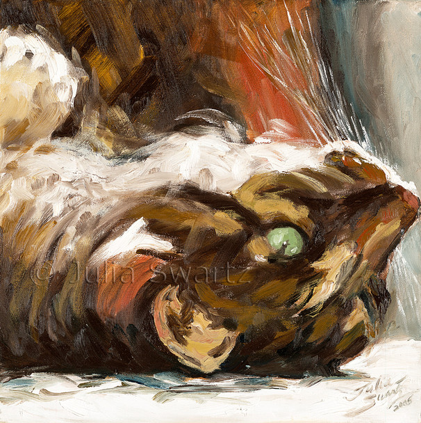 This is a second closeup oil painting I did of Max my cat.