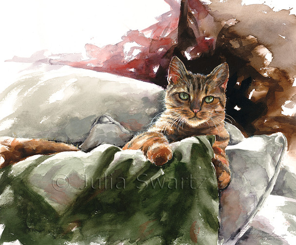 A watercolor painting of Max, the cat, sitting on pillows by Julia Swartz.