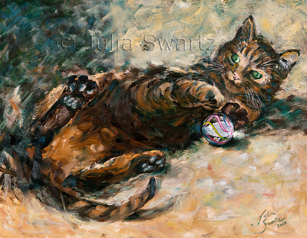 A watercolor painting of Max, the cat, playing with a marble by Julia Swartz