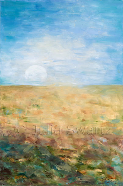 An impressionism landscape oil painting of the moon rising just above the horizon by Julia Swartz, Lancaster PA.
