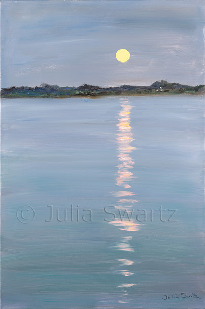 An oil painting of the moon rising over the Sassafras River by Julia Swartz.