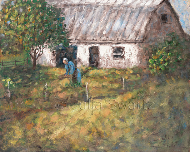 Am impressionism oil painting of an Amish lady working in her garden with a barn in the background by Julia Swartz, Lancaster PA.