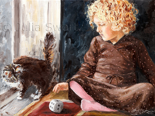 A commission for Moran's grandparents, this oil painting depicts a sweet little girl with her new kitten.