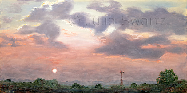 A landscape oil painting of the sunrise across the farms and a windmill.