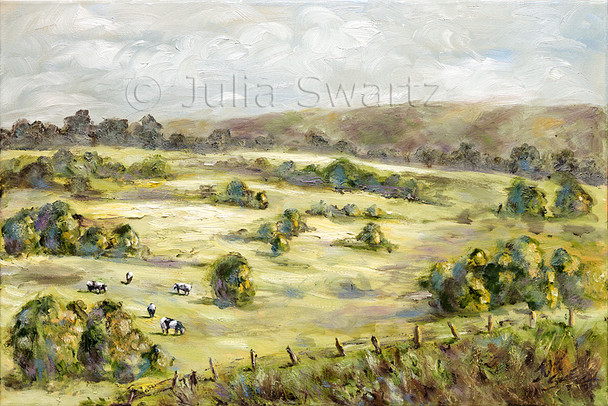This restful scene of the rolling countryside in morning sunlight is also a subject that Julia comes back to again and again. The cows grazing in the field is typical of Lancaster County, Pa, which has been Julia's home since childhood.
