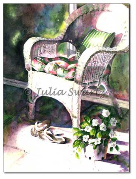 A watercolor painting of my wicker chair, sandals and flowers in my sun porch.