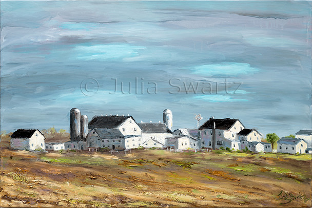 An oil painting of an Amish Farm in Lancaster county with many buildings by Julia Swartz.