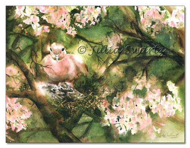 A watercolor painting of a Mourning Dove's nest and baby birds by Julia Swartz.