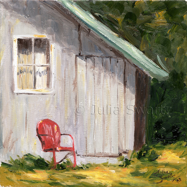 A landscape oil painting of a rustic barn is located in the mountains of northern Pennsylvania