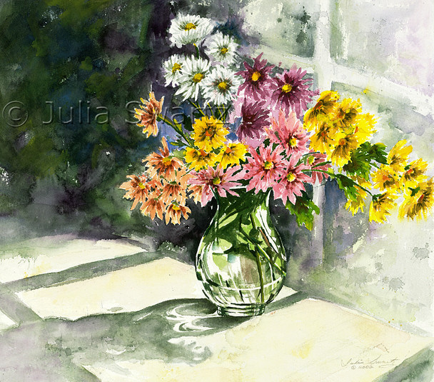 This watercolor depicts a multicolored array of mums picked fresh from the garden and placed in this clear glass vase by Julia Swartz