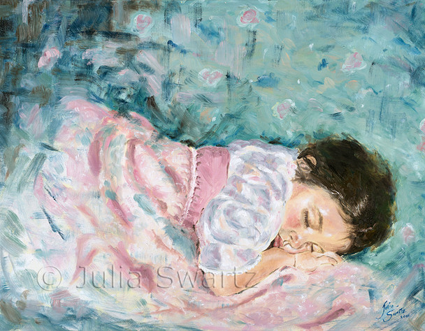 Here is a oil painting portrait of a young girl sleeping by Julia Swartz